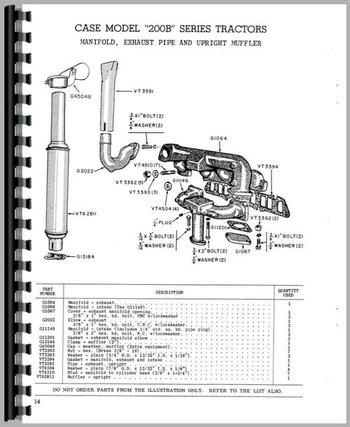 Case 200B Tractor Parts Manual