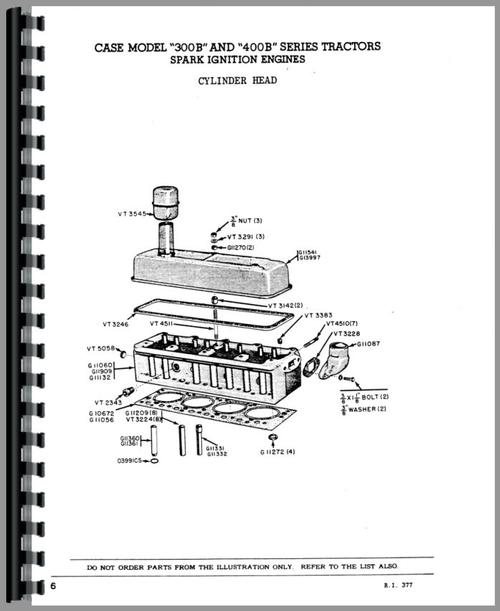 Case 310B Tractor Parts Manual