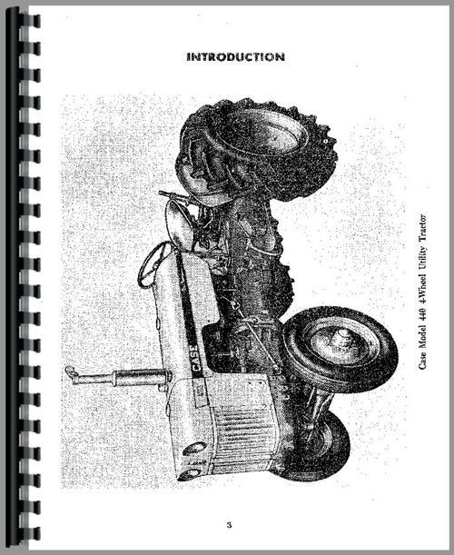 Case 441 Tractor Operators Manual