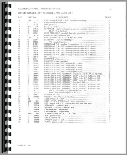 Case 446 Lawn & Garden Tractor Parts Manual