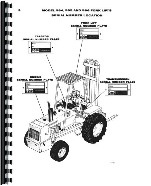 Case 585C Forklift Parts Manual