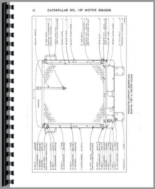 Caterpillar 12F Grader Parts Manual