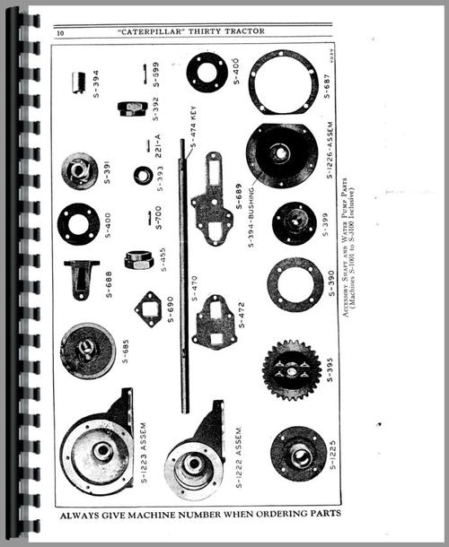 Caterpillar 30 Crawler Parts Manual