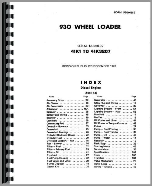 Caterpillar 930 Wheel Loader Parts Manual