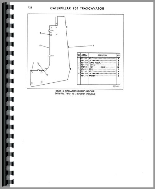 Caterpillar 931 Traxcavator Parts Manual