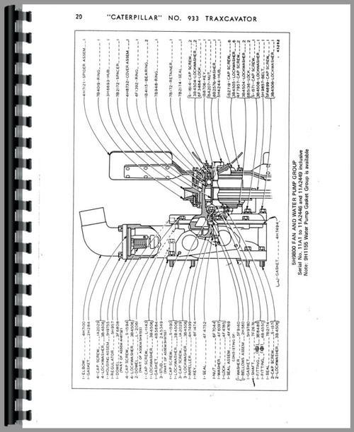 Caterpillar 933 Traxcavator Parts Manual