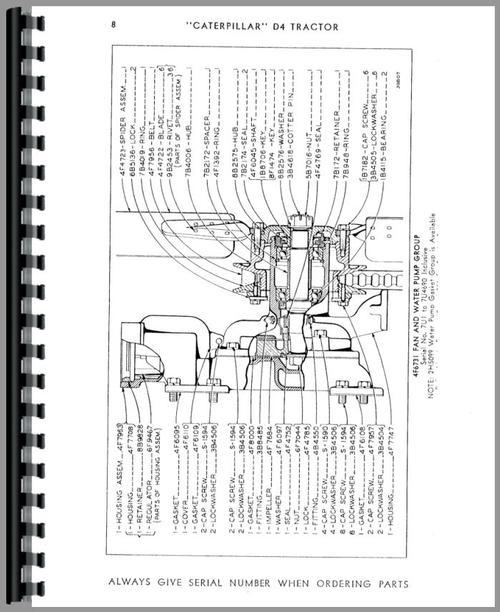 Caterpillar D4 Crawler Parts Manual