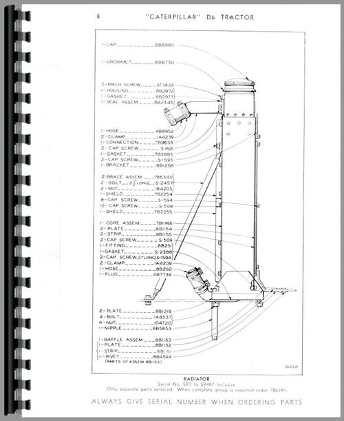 Caterpillar D6 Crawler Parts Manual