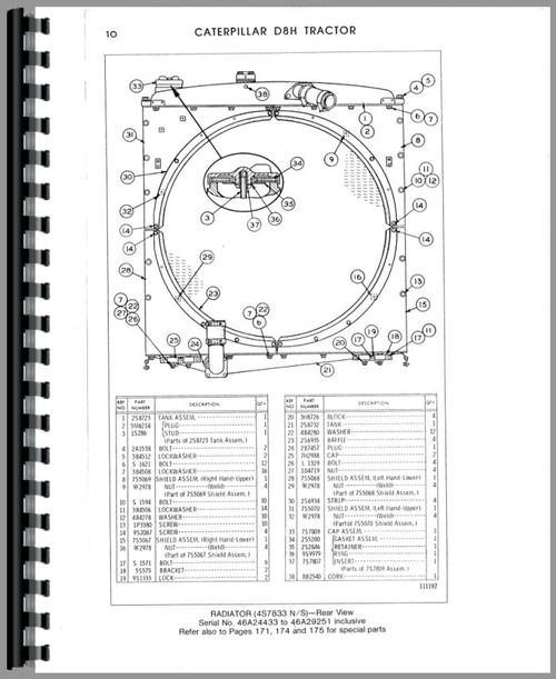 Caterpillar D8H Crawler Parts Manual
