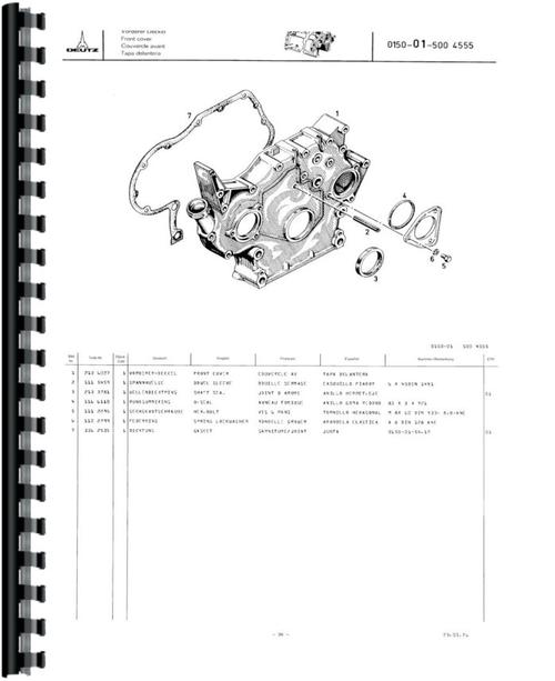 Deutz (Allis) D4006 Tractor Parts Manual
