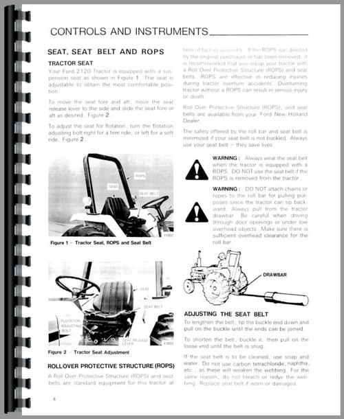Ford 2120 Compact Tractor Operators Manual