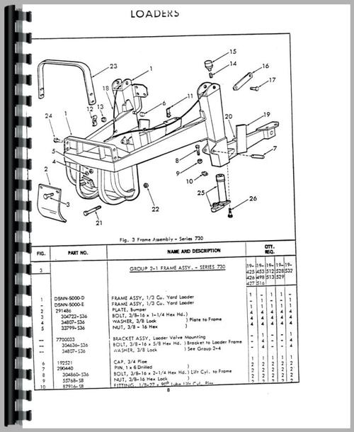 Ford 730 Tractor Loader Backhoe Parts Manual