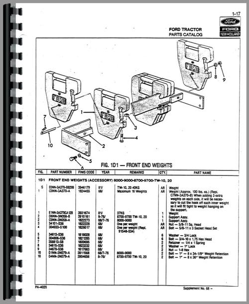 Ford 8700 Tractor Parts Manual