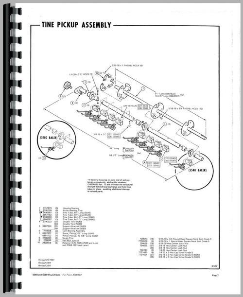 Hesston 5580 Round Baler Parts Manual