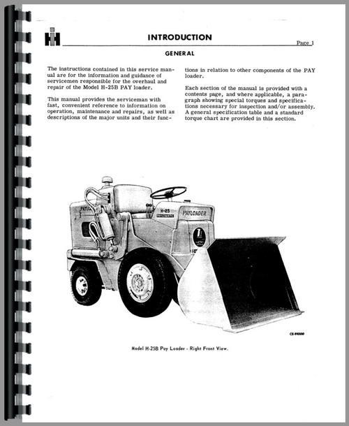 Hough H-25B Pay Loader Service Manual