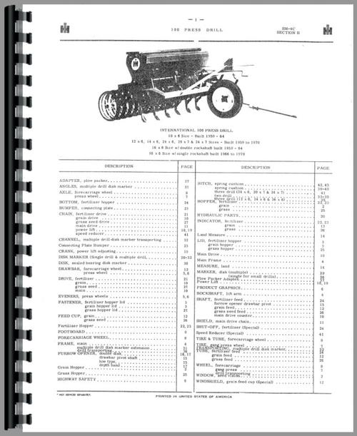 International Harvester 10 Grain Drill Parts Manual