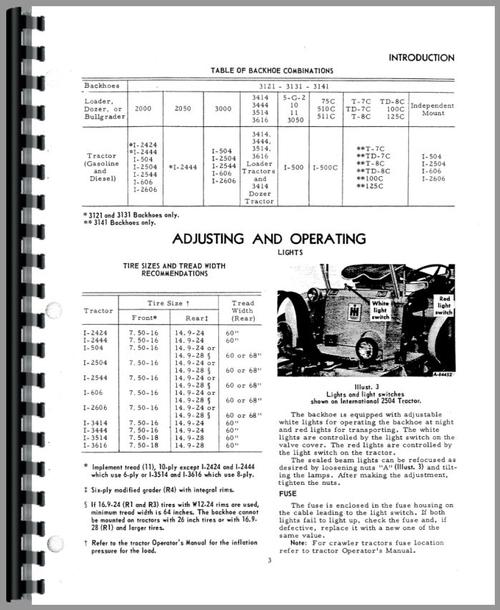 International Harvester 3444 Backhoe Attachment Operators