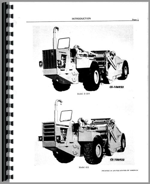 International Harvester 412 Elevating Scraper Service Manual