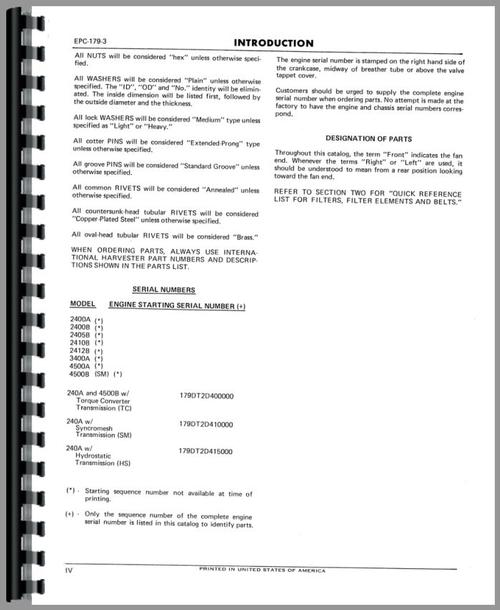 International Harvester 464 Tractor Engine Parts Manual