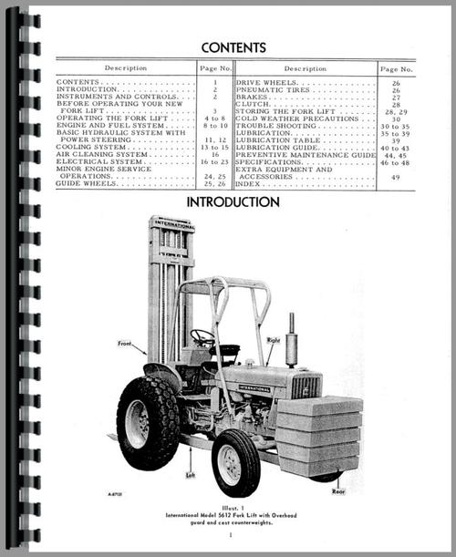 International Harvester 5612 Forklift Operators Manual