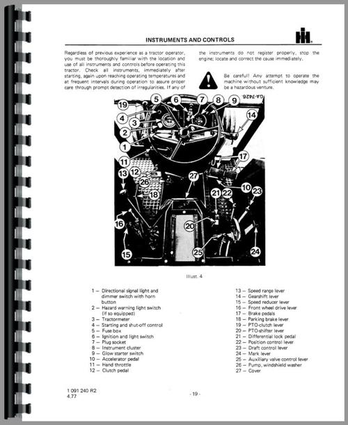 International Harvester 844 Tractor Operators Manual