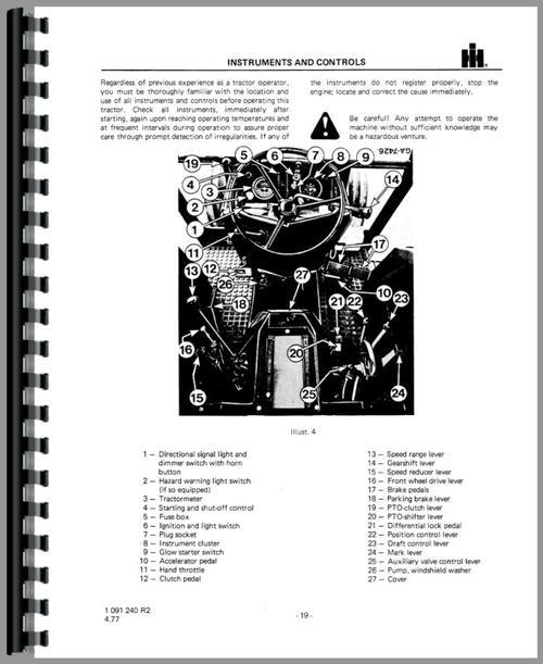 International Harvester 844S Tractor Operators Manual