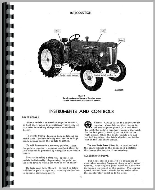 International Harvester B-414 Tractor Operators Manual