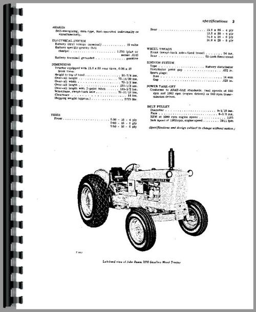 John Deere 1010 Tractor Operators Manual