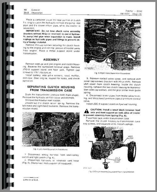 John Deere 2030 Tractor Service Manual