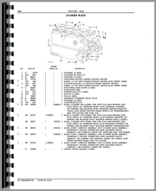 John Deere 2030 Tractor Parts Manual