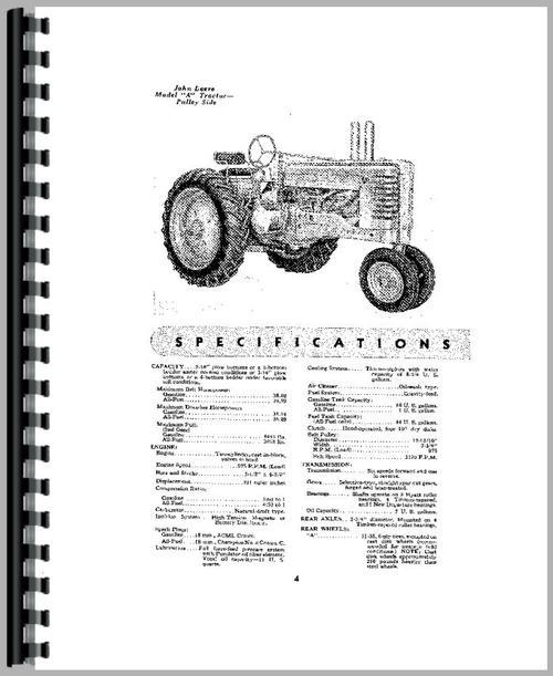John Deere A Tractor Operators Manual