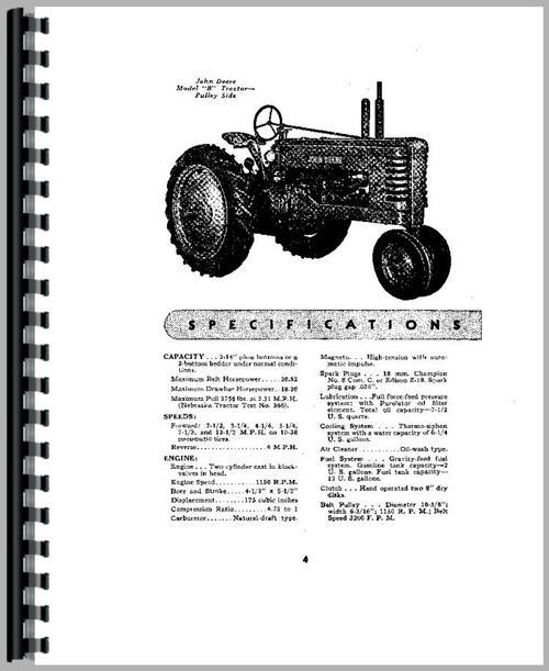 John Deere B Tractor Operators Manual