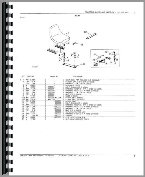 John Deere 112 Lawn & Garden Tractor Parts Manual