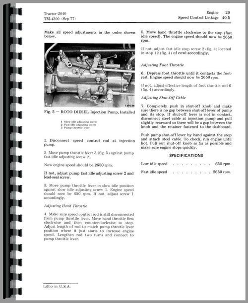 John Deere 2040 Tractor Service Manual