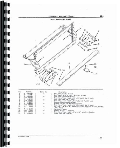 John Deere 30 Combine Parts Manual