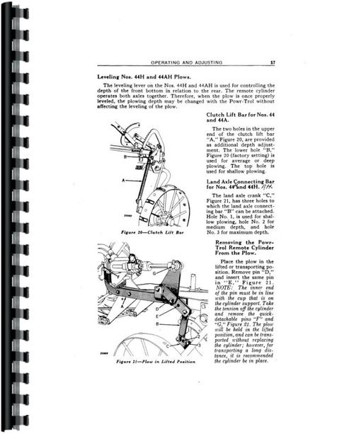 John Deere 44H Plow Operators Manual