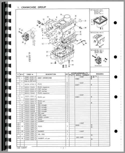 Kubota L245DT Tractor Parts Manual