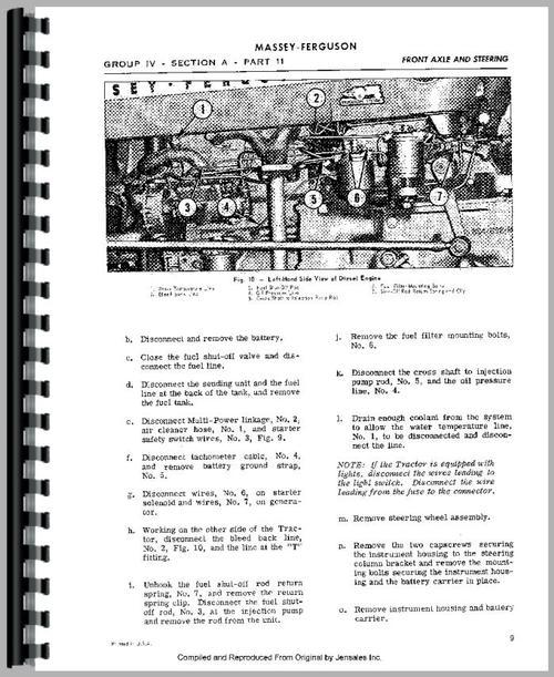 Massey Ferguson 135 Tractor Service Manual