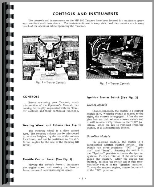 Massey Ferguson 180 Tractor Operators Manual