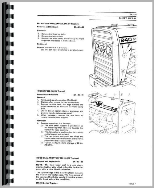 Massey Ferguson 240 Tractor Service Manual