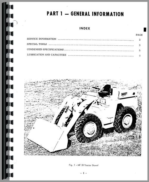 Massey Ferguson 33 Industrial Tractor Service Manual