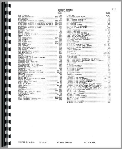 Massey Ferguson 2675 Tractor Parts Manual
