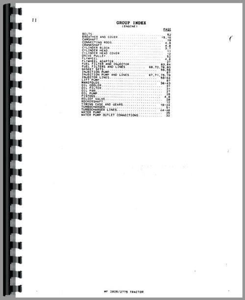 Massey Ferguson 2775 Tractor Parts Manual