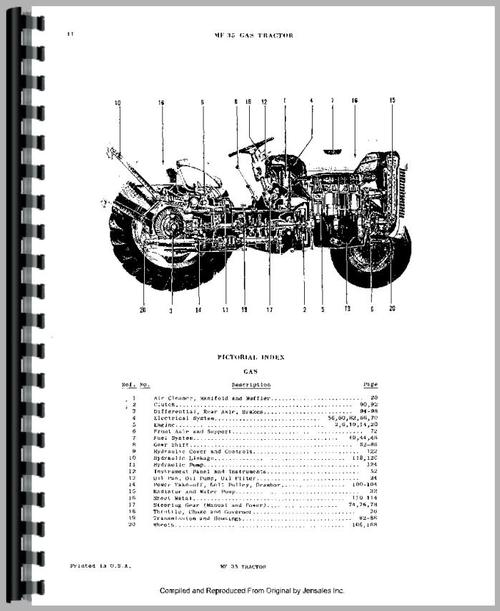 Massey Ferguson 35 Tractor Parts Manual