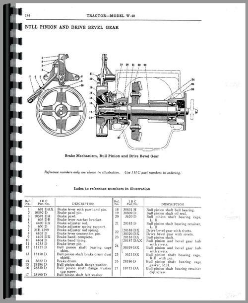 Mccormick Deering WA40 Tractor Parts Manual