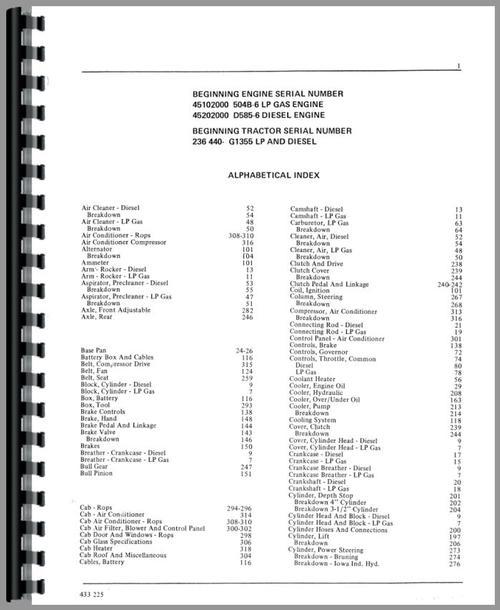 Minneapolis Moline G1355 Tractor Parts Manual