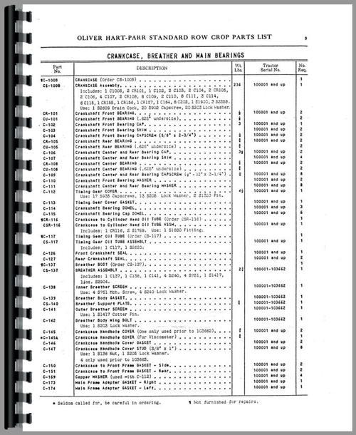 Oliver (Hart Parr) Hart Parr 18-27 Tractor Parts Manual