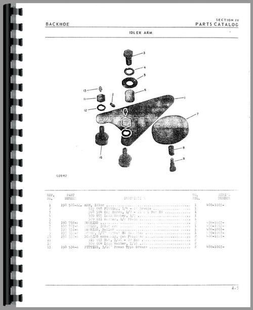 Oliver 1650 Backhoe Attachment Parts Manual