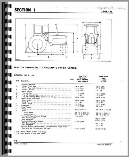 White 100 Tractor Service Manual