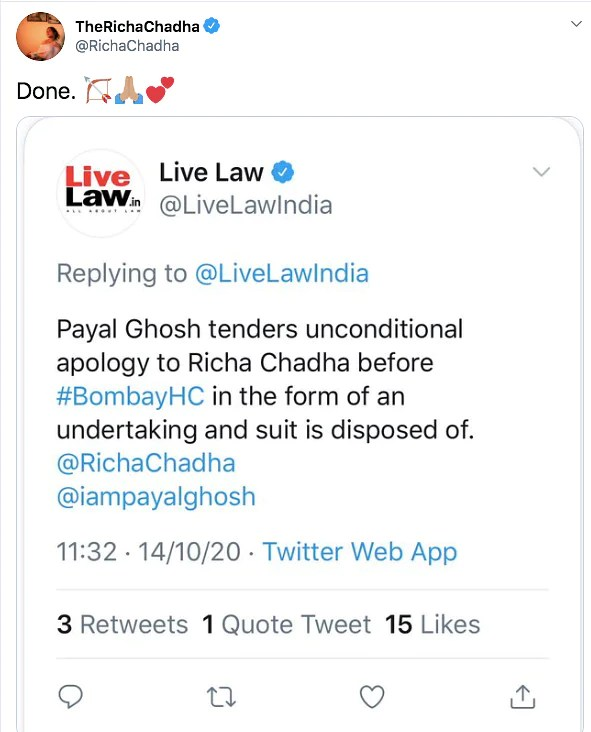 Payal Ghosh Tenders 'Unconditional Apology' to Richa Chadha